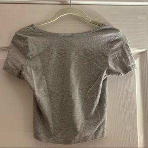 bp Tops - BP light grey short sleeved crop top